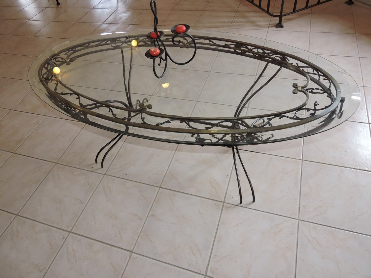 table basse fer forgé art nouveau (1530€)